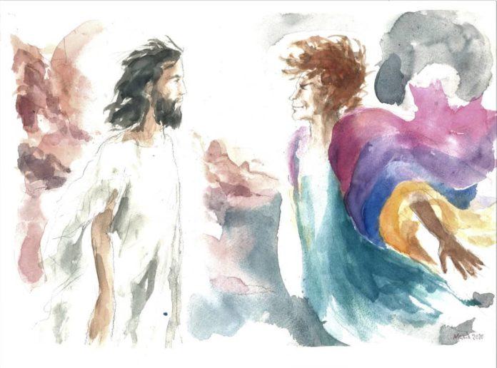 Cristo tentato da satana, acquarello di Maria Cavazzini Fortini, febbraio 2020