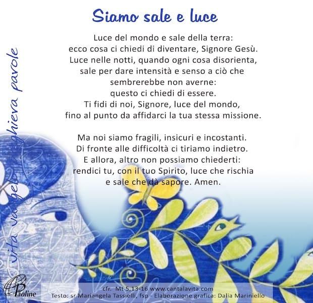 Commento al Vangelo di domenica 9 Febbraio 2020 per bambini/ragazzi – Sr. Mariangela Tassielli